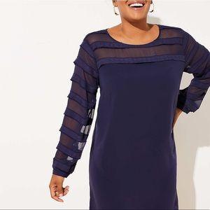 NWT LOFT Blue Sheer Sleeve Dress Size 16 Plus